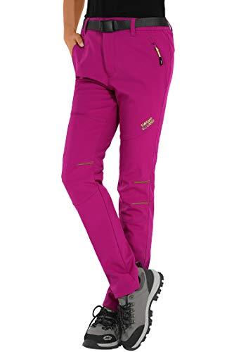 HAINES Pantaloni Trekking Donna Impermeabili Pantalone Softshell Pantaloni Montagna Abbigliamento Escursionismo Invernali,Stile 1:Rosa, Gr. EU-XL