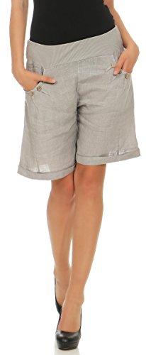 Malito Damen Bermuda aus Leinen | Shorts für den Strand | lässige Kurze Hose | Pants - Hotpants 6826 (hellgrau, L)