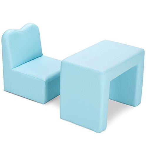 COSTWAY Kindersessel Set Sessel Sofa Kindersofa Kindercouch Babysessel Kindermöbel Stuhl und Tisch (Blau)