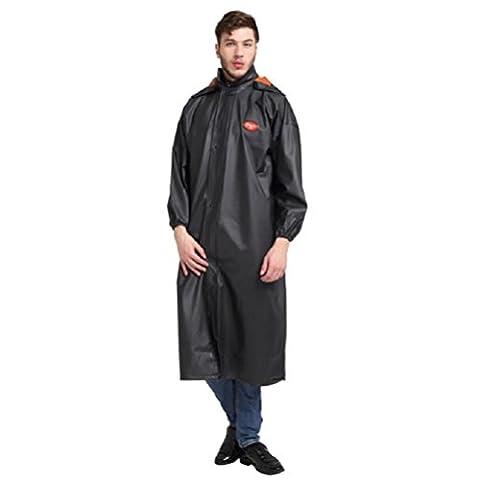 ZH&J Outdoor erwachsener schwarzer Regenmantel langer Windbreaker, Reißverschlusstasche, Oxford Tuch wasserdichter winddichter warmer Regenmantel, heller ultra-heller beweglicher Beutel,black,one size