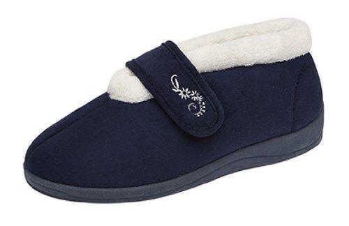 Mujer Dunlop Deloris Forro Polar Corte Ancho Pantuflas Con Velcro - Azul Marino, mujer, 5 UK / 38 EU
