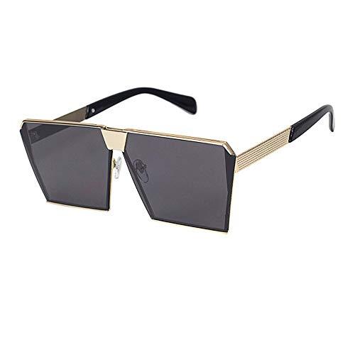 Runhh-Sonnenbrille Super Fire Big Frame Sonnenbrillen Gezeiten Herren Big Face Square Square Uv-Sonnenbrillen Polarisiert, Goldrahmen Schwarz Grau