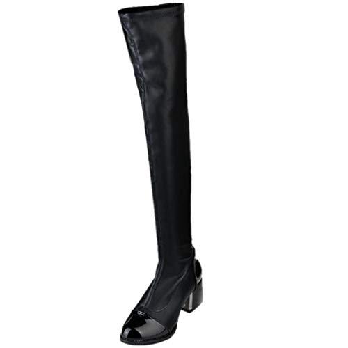 Dorical Damen Stiefel & Stiefeletten Winter Warm Hohe Overknees Stiefel mit Blockabsatz Profilsohle Übergrößen Flandell Gr 35-40(Schwarz,38 EU)