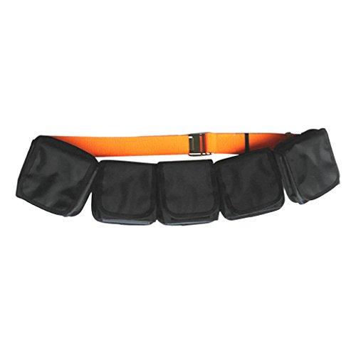 MagiDeal Tauchgürtel (Orange) mit Schnalle, 2x Edelstahl Gürtelschnalle, 1x Kunststoff Schnalle, 5x Taschengewicht Gürtel Bleitasche (Schwarz)