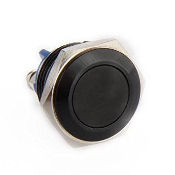 TOOGOO(R) Bouton Poussoir Interrupteur Noir 16mm 12V Pour Klaxon Voiture Auto