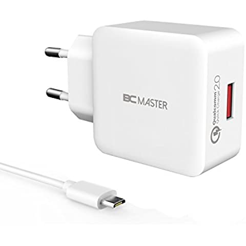 BC Master Cargador USB de Pared 18W Cargador de Red Enchufe Europeo Para iPad Air / Air 2, iPad Mini; iPhone 6 Plus / 6 / 5S, Samsung Galaxy S7 / S6 / Note 5, Samsung Tab y Otros Dispositivos USB