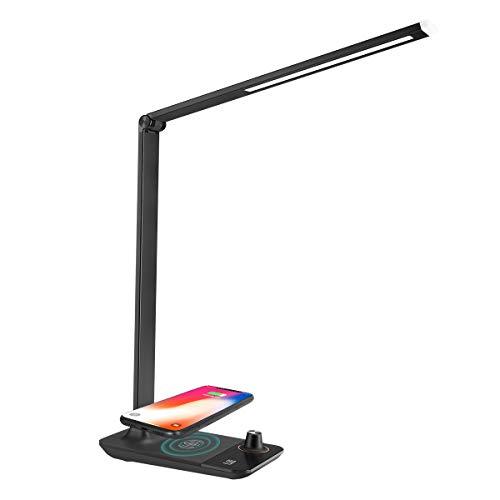 LE Lámpara de Escritorio LED, 3 Modos Regulable, Puerto USB 5V 2A para Cargar, Función Carga Inalámbrica, Función de Memoria, Cuidado a la Vista, luz de mesa iluminacion de noche