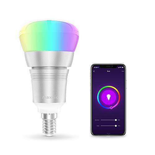 Lampadina Wifi Intelligente, Maxcio Lampadina Led Dimmerabile, Colorata [  E14 9W RGB+W], Accesso Remoto, con Funzione di Temporizzazione,Più