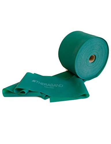 FTM Thera-Band® Grün Übungsband und Fitnessband LATEXFREI von der Rolle geschnitten, Meterware, Gymnastikbänder für Reha, Physiotherapie, Krankengymnastik für Allergiker (3 Meter)