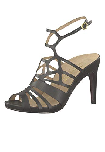 Tamaris 1-28317-22 003 Damen Black Leather Schwarz Sandaletten High Heeled Strappy Sandale Heart & Sole, Groesse:37 Stiletto High Heel Strappy Sandal