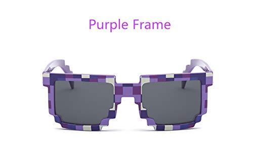 Caomingxuankinder Sonnenbrille Mosaiken 4-13 Jahre Platz Kinder Sonnenbrille Jungen Mädchen Pixel Eyewares Weihnachten Geburtstagsgeschenk, C.