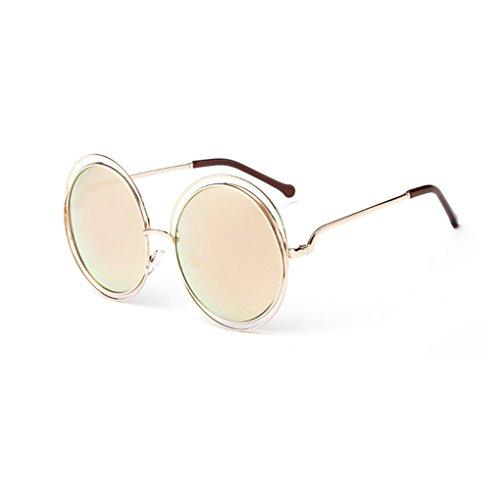 Provide The Best Runde Sonnenbrille Damen Herren-Spiegel-Gläser Hohlmetallrahmen Brillen