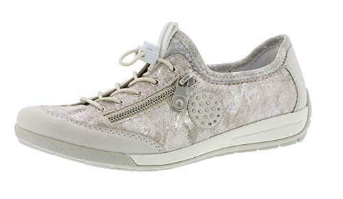 Rieker M3063 Damen Slipper,Schlüpfschuh,Slip-on,modisch,Freizeitschuh,Ice/Rose-metallic/silverflower / 81,43 EU - Sneaker Damen Klett