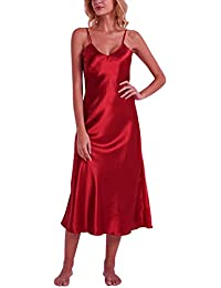 YAOMEI Camisón para Mujer Camisones Raso Satin Largo Pijamas, lencería Spaghetti Strap Babydoll Satén Neglige