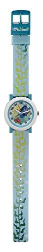 Findet Dorie Analog-Armbanduhr mit blauem Zifferblatt und weißem Kunststoff-Armband für Kinder, Quarz Uhrwerk, FID5