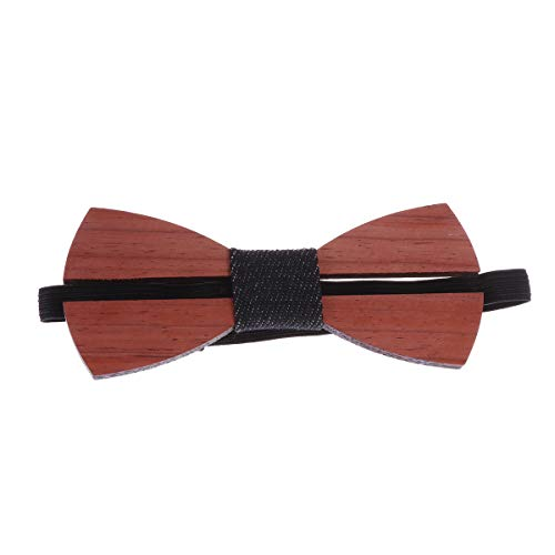 Amosfun 1pc Men Male Wooden Bow Tie Necktie Hand Made Cfrafts Wedding Party Decor X-long Band Bow Tie