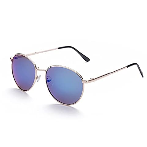 Hmilydyk Lunettes de soleil polarisées Mode Twin-beams vintage Metal Cadre rond Verres miroir UV400Homme Eyewear, Gold Frame Blue Lens