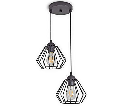 LED Deckenleuchte Schwarz Draht Drahtlampe Retro Vintage 2-Flammig, Gratis Leuchtmittel 4 Watt Warmweiß (724-E2)