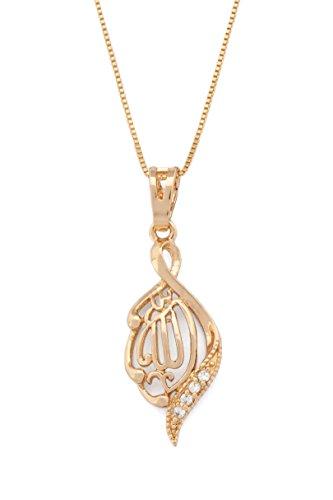 Remi Bijou Wunderschöne Halskette + Anhänger Namen Allahs auf arabisch Islam Muslim – Gold Farbe Strass