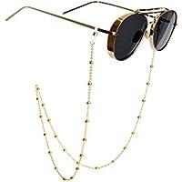 Catena Perline Occhiali Occhiali Occhiali Catene e cavi collo Strap Holder per le donne oro -81cm