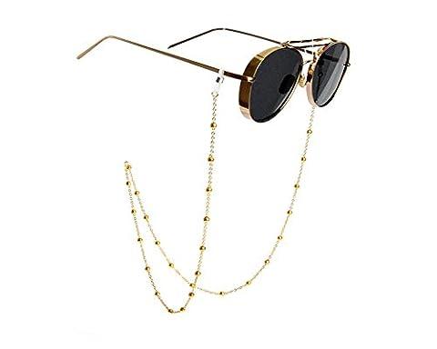 Erioctry Chaîne à perles à porter autour du cou pour lunettes de soleil et autres lunettes pour femme Doré 81cm