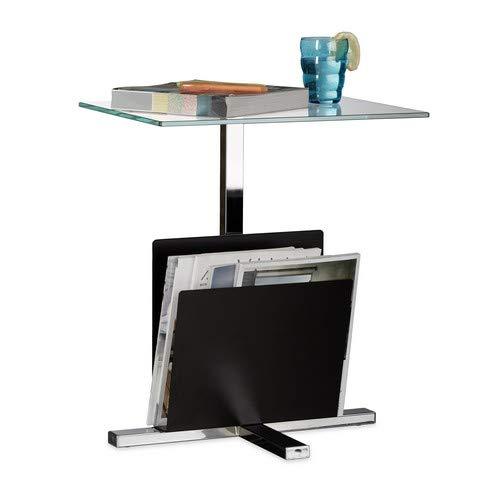 Glas Metall-beistelltisch (Relaxdays Beistelltisch mit Zeitungsständer, Metall, Glas Couchtisch, Zeitungsablage, HxBxT: 53 x 46 x 36 cm, schwarz)