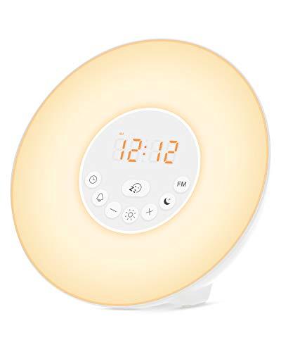 Brilex Luz de Despertador, Lámpara Nocturna 6 Sonidos de La Naturaleza, 7 Colores Cambiantes, Radio...