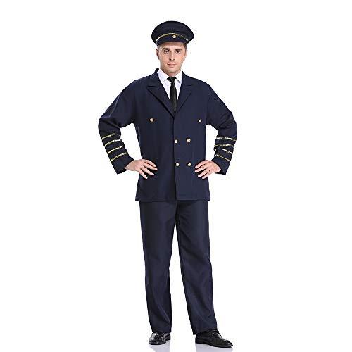 PRTQI Halloween Erwachsenen Kostüm Männlichen Piloten Uniform Versuchung Polizeiauto Kapitän Lokomotive ()
