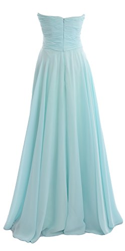 MACloth Elegant Strapless Chiffon Long Bridesmaid Dress Simple Prom Formal Gown Eggplant