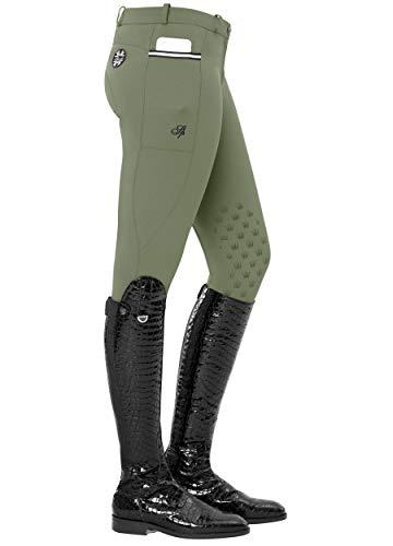 SPOOKS Damen Reithose Vollbesatz, leichte Damenreithose Reithosen Turnierreithose Vollbesatzreithose - Leena Light Knee Grip Olive XL
