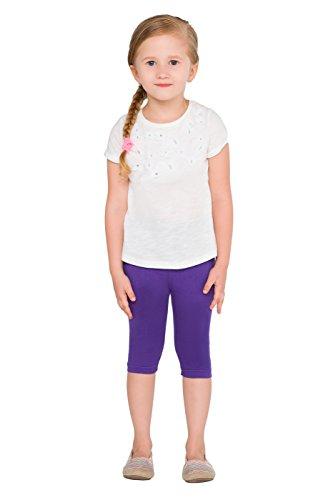 hi!mom Cropped Kinder 3/4 Baumwolle Leggings Basic Plain Kinder Capri Hosen Alter 2-13 Violett 1-2 Jahre