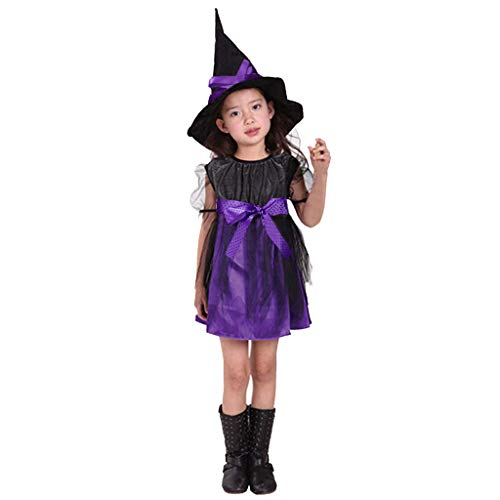 Allence Fledermaus Hexenkostüm Kinder Mädchen pink-schwarz & Hexenhut - schickes Halloween Kostüm Hexe - Pin Up Baby Kostüm