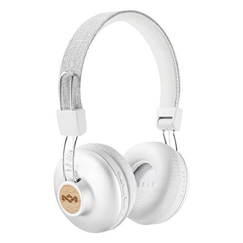 House of Marley Positive Vibration 2 BT - Kabellose Bluetooth On-Ear Kopfhörer, Geräuschisolierung, Premium Sound, Mikrofon, Laden via USB, 10 Std. Akkulaufzeit, nachhaltige Materialien - Silver