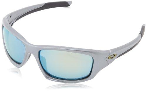 Oakley Herren Valve Rechteckig Sonnenbrille, Dark Grey/Emerald Iridium Polarized (S3)