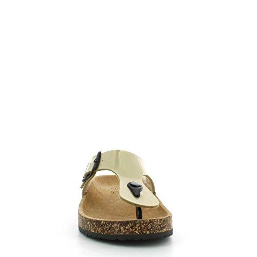 Ideal Shoes - Nu-pieds vernis style orthopédique avec ceinturon Konrad Doree