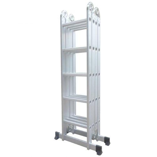 Varan Motors - DLM105 Scala, sgabello, ponteggio multifunzione in alluminio di 5,92 m, 20 pioli