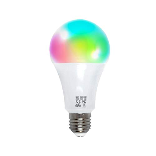 Lampadina WiFi Smart by EMC Italy | Multicolore + Bianco Caldo e Freddo | Lampadina Intelligente a LED E27 Funziona con Amazon Alexa/Echo e Google Assistant/Home per iOS/Android | Potenza 10W | 800 lm