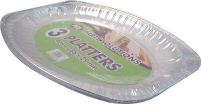 (PPS 3x Aluminium-Platte Tablett–44cm x 29cm Einweg Folie Catering Servierplatte)