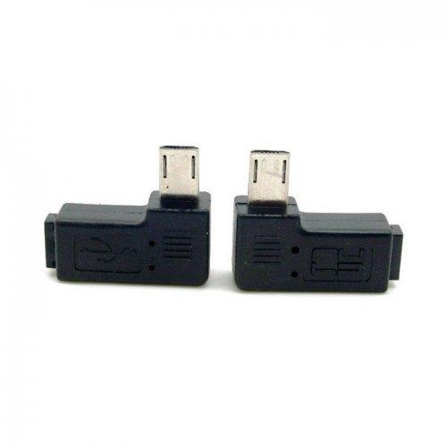cablecc 2pcs 9mm Largo Conector 90Grados a la Izquierda y en ángulo Recto Micro USB 2.0de 5Pines Macho a Hembra Adaptador de extensión cablecc