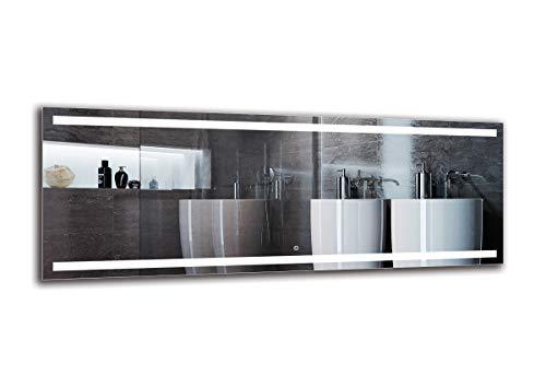 LED Spiegel Deluxe - Spiegelmaßen 160x60 cm - Touch Schalter - Berührungsschalter - Badspiegel - Wandspiegel Lichtspiegel - Fertig zum Aufhängen - ARTTOR M1CD-30-160x60 - Lichtfarbe Weiß warm 3000K