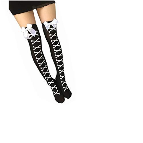 Goosuny Damenstrümpfe Fashion Knochen Drucken Strapsstrümpfe Kniestrümpfe Overknee Strümpfe Socken Strumpf Bow Oberschenkel Hohe Lang Stiefel Füßlinge ()