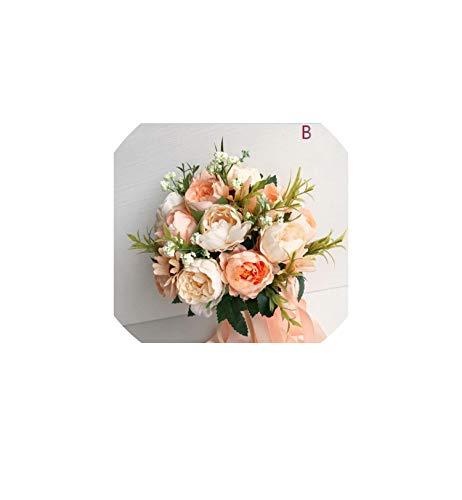 Kion Pasue bridal bouquets Hochzeit Blumen Brautstrauß für die Braut Brautjungfern-Pink, Blau, Lila Champagne Blumenstrauß, wie der Bild2 - Hochzeit Bouquet Strand