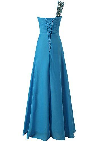 MicBridal® 2017 Damen Sonderangebot One Shoulder Herzförmig Chiffon Lang Abendkleid Ballkleid mit Schnürung Blau