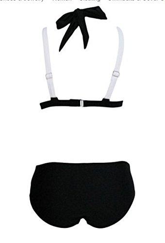 Lora Dew(TM) Bikini Frauen Verband Bikini Kreuz Doppelt Colored Gepolsterter Push up Halter Badeanzug Weiß