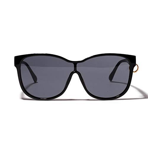 sijiaqi Übergroße Sonnenbrille für Frauen Big Frame Sonnenbrille Männer Trendy Circle Siamese Eyewear,Black