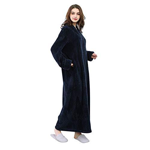 Moonvvin unisex lusso spessi lunghi pigiama flanella solid colored robe pigiama per uomo vestaglia in pile caldo, flanella, marina militare, x-large