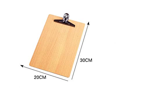 AAWWEERRTYU Klassisch Exquisit A4 Holzfeile Klemmbrett abgerundete Ecken Duty Clip Menu Board mit Aufhängeloch (Holz) (Größe : 16K_30x20cm)