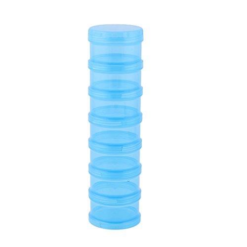 sourcingmap zylindrisch 7 Fächer Medizin Pille Tablette Organizer Behälter Box Gehäuse blau Dia-box Organizer