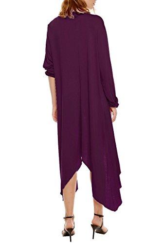 CROVOG Mode Cardigan Jacket Femme Irrégulier Lâche / Veste A Manche Longue Mi Saison Casaul Asymétrique Léger Automne Printemps Vin rouge