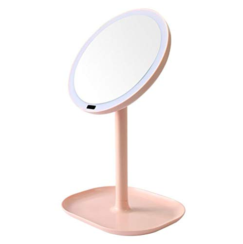 Creative Smart LED Miroir De Maquillage Salle De Bains Magnifier Glowing Mirror Beauty Dressing Mirror Dressing Light Mirror (Couleur : Rose, edition : 5X magnification)